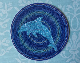 Funky Colourful Sticker- Dolphin Constellation Mandala by Elspeth McLean