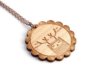 Reindeer necklace - deer pendant - forest animal jewelry - cute deer necklace - lasercut maple wood - graphic illustrated jewelry