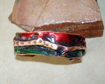 copper cuff bracelet, foldformed cuff, textured copper cuff, ink colored cuff