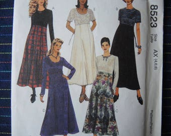 vintage 1990s sewing pattern McCalls 8523 misses high waisted dress size 4-6-8