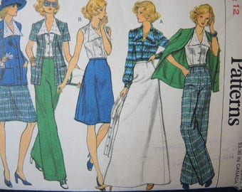vintage 1970s Vogue sewing pattern 8872 misses jacket blouse skirt and pants size 12