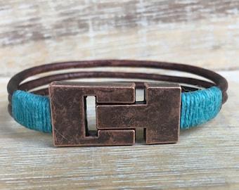 Leather Cuff Bracelet, Boho Wrap Bracelet, Turquoise Bracelet, Magnetic Clasp Bracelet, Women's Jewelry, Girlfriend Gift, Trendy Bracelet