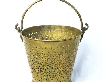Vintage brass bucket...openwork brass bucket...Arun brass bucket...large brass bucket.