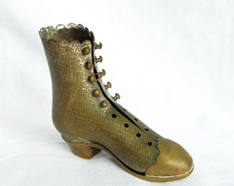 Victorian brass shoe...brass shoe...patent applied for.