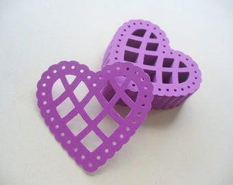 Purple Scalloped Lattice Lace Paper Hears, Heart Die Cut, Card Making, Paper Craft, Table Confetti, Martha Stewart, Grape Color