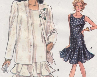 FF 80s Dropped Waist Dress Flounce Tiers Jacket Very Easy Sewing Pattern [Vogue 7202] Size 8 10 12, Bust 31.5 32.5 34, UNCUT