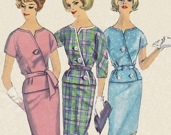 """FF 1960s Diagonal Front Button Two Piece Proportioned Dress Vintage Sewing Pattern [Simplicity 4256] Size 10, Bust 31"""", UNCUT"""