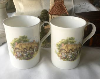 Set of 2 Tea Mugs by Crown Trent Staffordshire England  Fine Bone China with English Country Cottages Gift Perfect