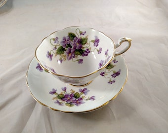 Paragon Valentine Violets Tea Cup and Saucer, Mint Condition