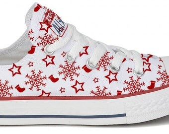 Converse Low Top Red White Holiday Winter Snowflake Stocking Custom Print w/ Swarovski Crystal Rhinestone Bling Chuck Taylor All Star Shoes