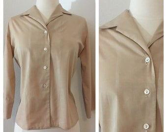 Buttercream Dream / Classic Vintage 1960s Button up Blouse Shirt