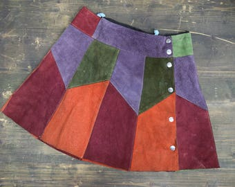 Vintage Suade Patch Work Mini Skirt