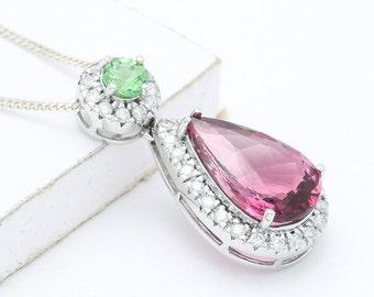 Tsavorite Garnet, Rubellite Pink Tourmaline & Diamond Pendant in 18K White Gold (10.15ct tw) : sku 1003-18K-WG - Watch Video