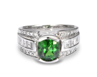 3ct Tsavorite Green Garnet & Diamond 14K White Gold Engagement Ring (3.9ct tw) : sku 2100-14K (Watch Video)