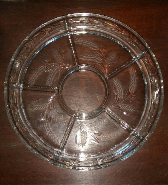 Beautiful vintage wheat pattern cut glass serving tray. Snack tray.  Vegetable tray.  Chip and dip tray.  Candy dish