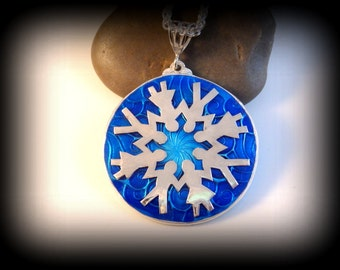 Recycled Silver, Pendant, Snowflake, Enamel, Basse-taille, Eco Friendly, OOAK, Gift, Necklace