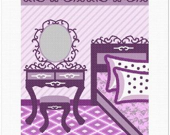 Needlepoint Canvas: Purple Bedroom