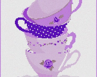 Needlepoint Kit or Canvas: Stacked Cups