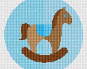 Needlepoint Kit or Canvas: Rocking Horse Blue