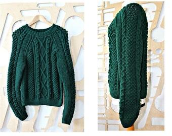 Handmade Aran jumper Irish Wool Handspun wool Fisherman's sweater Traditional Aran Sweater Celtic Style Jacket Made in Ireland Boho Hipster