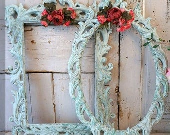 Ornate large picture frames set of 2 painted distressed light robins egg blue embellished pink flowers wall hanging decor anita spero design