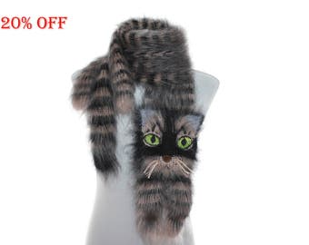 SALE 20 % OFF / Knitted Scarf  / animal scarf /  tabby cat / Fuzzy  black beige Soft Scarf / Pet portrait / cat scarf /  animal scarf
