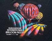 Vintage 1990s Albuquerque Balloon Fiesta Black T-Shirt L Russell Jerzees 50 50 Cotton Poly Blend