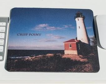 Mousepad, Crisp Point Michigan Lighthouse  Design, Office Décor, Photograph, Artistic, Office Accessory