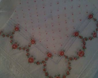 Handkerchief Ladies cotton Lace flowers polka dot
