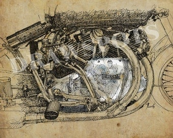 1950 Vincent Rapide Series C, Original Handmade Drawing, Gift For Men, Based on my Original Handmade Drawing, Art Print 11.5x16in