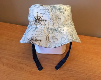 Size 2t (24 month) Reversible Bucket Hat with Chin Strap