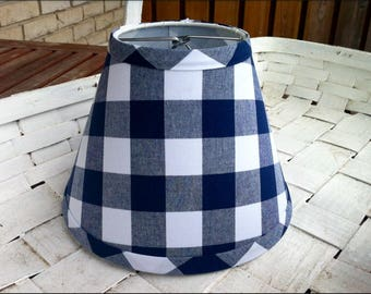 Buffalo check navy and white gingham clip lampshade large gingham check shade