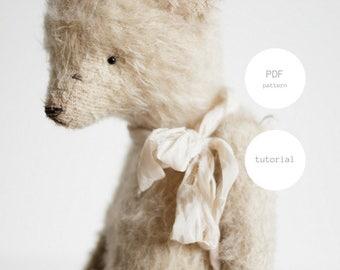 PDF Sewing Pattern For Women Artist Teddy Bear Pattern Stuffed Animal Mohair Teddy Bear Soft Toys 7 inches Step By Step PDF Tutorial