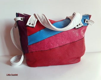 handbag in White leather and multicolored leather