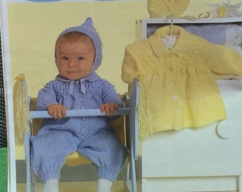 "UK/EU SELLER Vintage pdf knitting instructions Babygrow with smocked yoke, collar, Matinee Coat both with matching hoods. Dbl Knit. 16-20""."