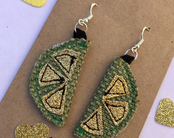Lush lime fruit earrings