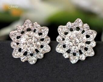 Crystal Stud Earrings Bridal Wedding Earrings Rhinestone Flower Earrings Bridesmaid Crystal Earrings Bridesmaid Gift Crystal Studs AVA
