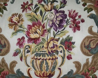 LEE JOFA KRAVET Embroidered Floral Urns Linen Fabric 10 Yards White Rose Plum Gold Multi