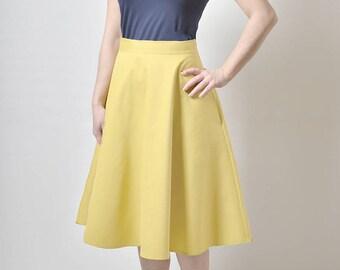 Yellow  Midi skirt, High Waisted Midi skirt,  Skirt with Pockets, Cotton Sateen Skirt (exfl)
