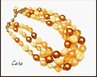 Coro  Bead necklace - Peach Cream and Gold lucite -  Triple multi strand necklace - Mid century