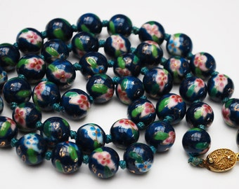Cloisonne flower Bead Necklace - Aqua Turquoise  Blue Green white gold Enameling - Hand knotted 12 mm Chinese beads - 25 inches