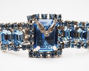 Blue Rhinestone Bracelet - Emerald cut Crystal - Prong set -Silver tone setting - Gift for her -Wedding BRide