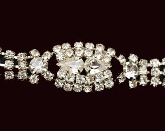 Rhinestone Bracelet - Bling glitz hollywood glamour - Clear Rhinestone