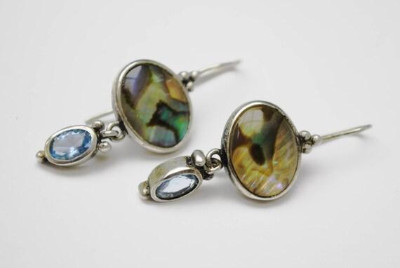 Abalone Sterling dangle Earrings- Blue openback glass - Drop pierced earrings