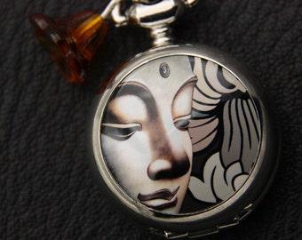 Necklace pocket watch Buddha 2222M