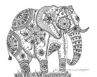 Elephant coloring  Etsy