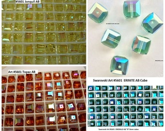 12+ Swarovski Elements 8mm Jonquil AB B, Erinite AB B, Emerald AB B, and Topaz ab Article 5601 Cube Crystals, New from Box