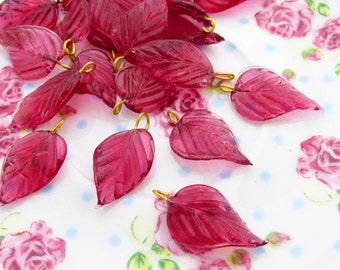 Long Fuchsia Pink Glass Leaves Bead or Leaf Charm with Brass Ring Loop 24mm - 6