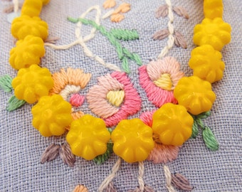 Opaque Bright Yellow 9mm Puffy Daisy Flower Glass Sunflower Beads  10