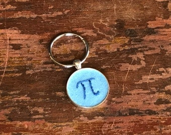 Pi Pendant in Blues, hand embroidered necklace or keychain, blue on light blue